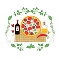 Pizza illustration tasty food italian and red wine Stock Photography