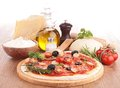 Pizza with ingredient on wood Royalty Free Stock Photo