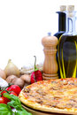 Pizza and ingredients Stock Image
