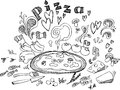 Pizza ingredients black and white digital illustration of and Royalty Free Stock Image