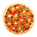 Pizza isolated with mushrooms on white background Stock Photo