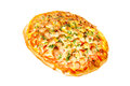 Pizza isolated with wurstel on white background Royalty Free Stock Photo