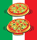 Pizza with italian flag Royalty Free Stock Photography