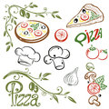 Pizza italian food and colorful vector set Royalty Free Stock Images