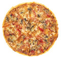 Pizza italiano top view on the white background Royalty Free Stock Images