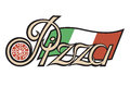 Pizza label illustration of with text Royalty Free Stock Photo