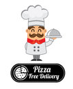 Pizza label over gray background vector illustration Royalty Free Stock Photography