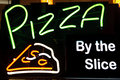 Pizza light sign peperoni neon Stock Photo