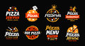 Pizza logo. Collection labels for menu design restaurant or pizzeria. Vector icons Royalty Free Stock Photo