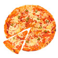 Pizza Margherita isolated over white background Royalty Free Stock Photo