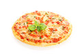 Pizza margherita isolated on white background decorated with basil leafs Royalty Free Stock Images