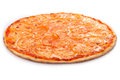 Pizza margherita isolated on white full circle backraund Royalty Free Stock Photos