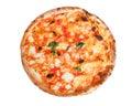 Pizza margherita with mozzarella isolated on white background Royalty Free Stock Image
