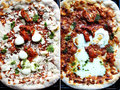 Pizza margherita uncooked and cooked montage of from an aerial perspective each image can be cropped and individually selected as Stock Photo