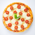 Pizza margherita on white background top view Stock Photography