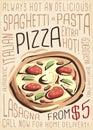 Pizza menu. Artistic menu design