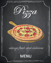 Pizza menu on chalkboard background, vector, illustration, freeh Royalty Free Stock Photo