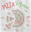 Pizza menu drawing with color chalk on wood board the names of dishes of hawaiian cheese chicken pepperoni and other ingredients Royalty Free Stock Images