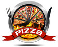 Pizza - Metal Icon with Cutlery Royalty Free Stock Photo