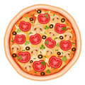 Pizza mit Tomaten Stockfoto