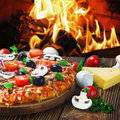 Pizza with mushrooms and cheese served on wooden table Royalty Free Stock Photo