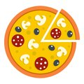 Pizza with mushrooms, salami and olives, icon
