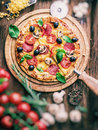 Pizza with mushrooms, salami and tomatoes. Vintage style. Royalty Free Stock Photo