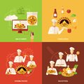 Pizza order and making icon full process of sale flat icons set isolated vector illustration Royalty Free Stock Photos