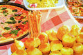 Pizza and other food from chicory fest in tivat montenegro Stock Photography