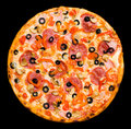 Pizza with peperoni, mushrooms and ham, isolated Royalty Free Stock Photo