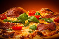 Pizza pepperoni cheese salami vegetables Stock Image