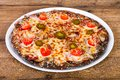 Pizza pepperoni with pepper Royalty Free Stock Photo