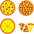 Pizza pie and slices with various toppings Stock Photos