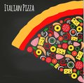 Pizza piece on the chalkboard with ingredients Royalty Free Stock Photo