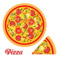 Pizza and piece flat icon background Royalty Free Stock Photo