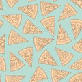 Pizza pieces outline vector seamless pattern. Flat style. Vector illustration.