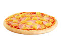 Pizza with pineapple and ham on white background. Royalty Free Stock Photo