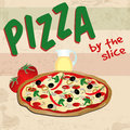 Pizza poster in vintage style vector illustration Royalty Free Stock Photos