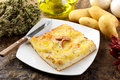 Pizza with potatoes Royalty Free Stock Image