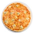 Pizza quattro formaggi  from the top Royalty Free Stock Image