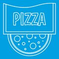 Pizza restaurant label icon, outline style