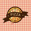 Pizza Ribbon Style Logo Vector
