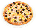 Pizza rimini with cheese tomatoes corn and bacon isolated Stock Photography