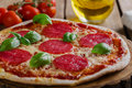 Pizza with salami