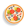 Pizza with sausage, tomatoes, mushrooms and cheese. Flat color icon, object of fast food and snack.