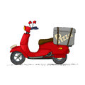 Pizza scooter delivery cartoon over white Royalty Free Stock Image