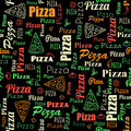 Pizza seamless pattern with doodles and text