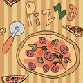 Pizza seamless pattern italiana vector Royalty Free Stock Photo