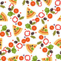 Pizza seamless pattern vector illustration piece slice pizzeria food menu snack on white background ingredient deliver