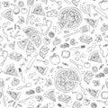 Pizza seamless pattern. Vector pizza pattern.